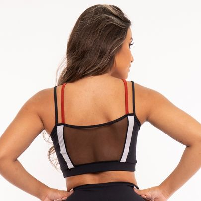 Top Fitness Strappy Metalic Telha Bojo Removível