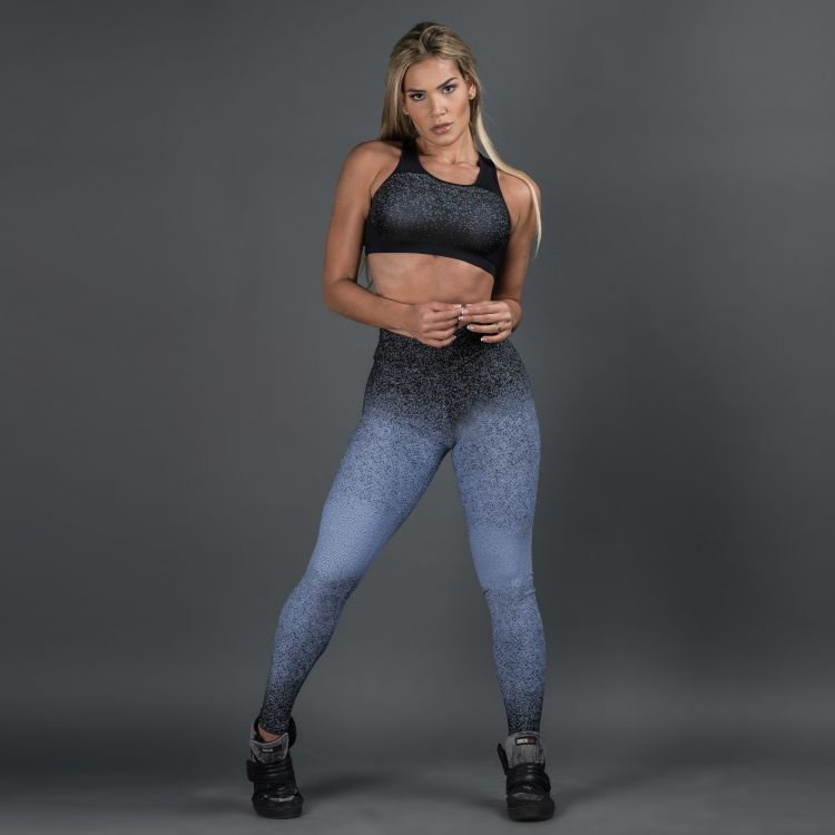 Calça Legging Poliamida Jacquard Degrade Royal