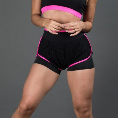 Short Fitness Preto com vivo Rosa