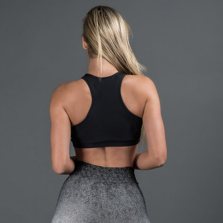 Top Fitness Poliamida Jacquard Degrade Preto