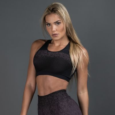 Top Fitness Poliamida Jacquard Degrade Púrpura