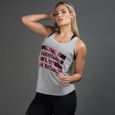 Camiseta Fitness Mescla You Are Stronger Than You Think