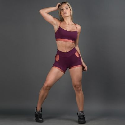 Short Fitness Com bolso Wine