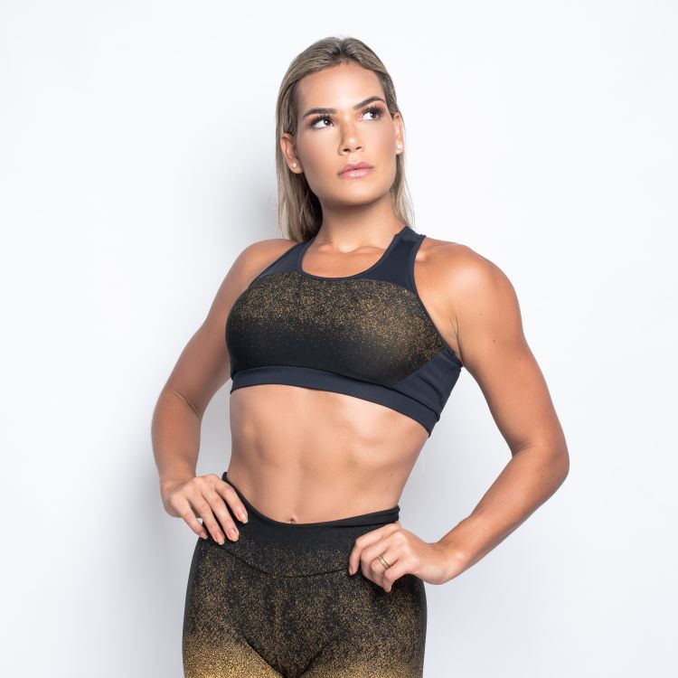 Top Fitness Poliamida Jacquard Degrade Amarelo