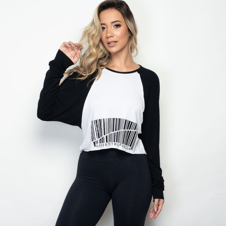 Blusa Fitness  White with black