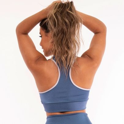 Top Cropped Fitness Poliamida Metalic Blue