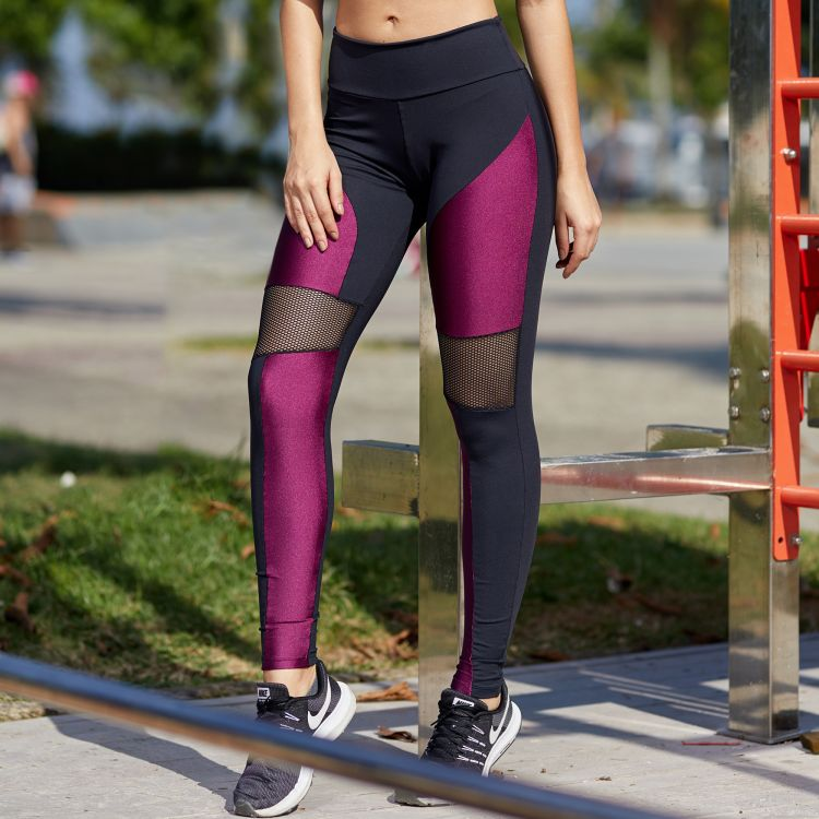 Calça Legging  Purple with Black