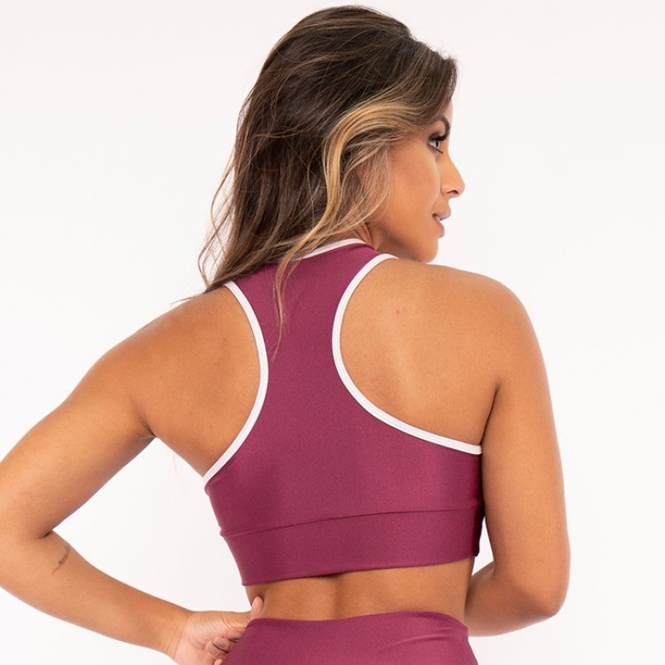 Top Cropped Fitness Poliamida Metalic Pink