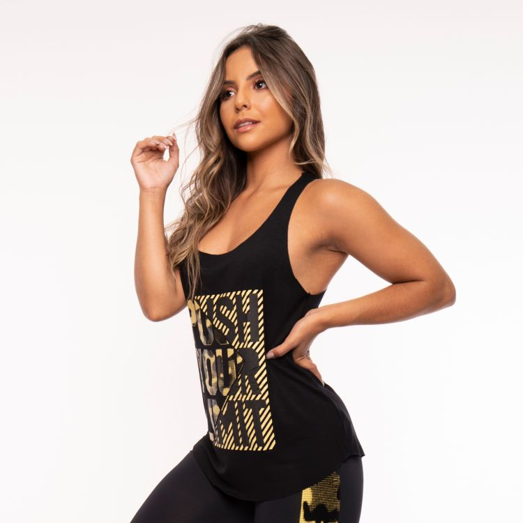 Camiseta Fitness Preta Camuflado Push Your Limit