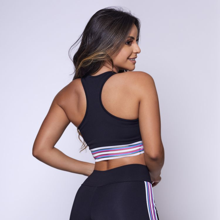 Top Fitness Poliamida Preto com Elástico Colors