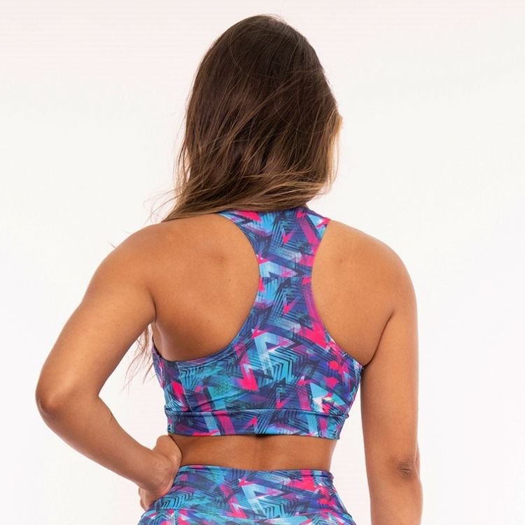 Top Fitness Estampada Blue and pink