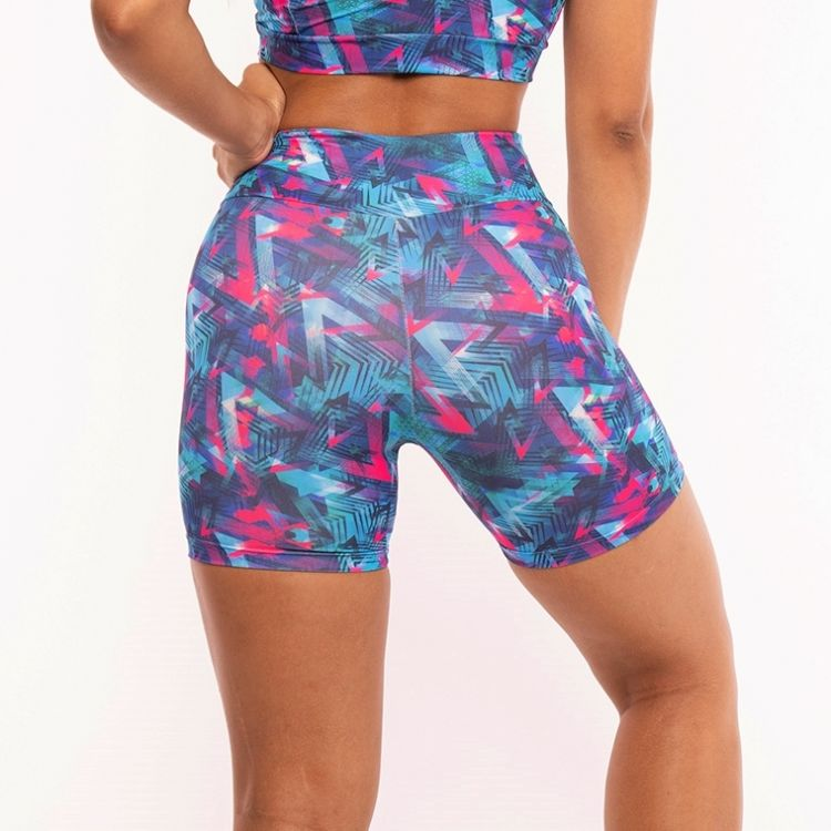 Short Fitness Estampada Blue and pink