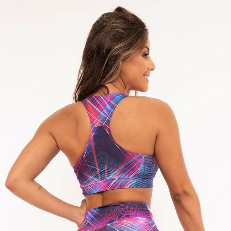 Top Fitness Estampada Colorful Rose