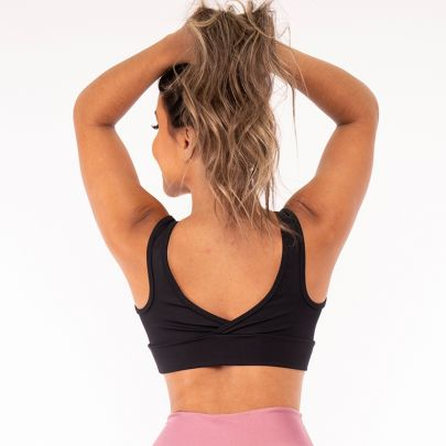 Top Fitness Poliamida Black white and pink