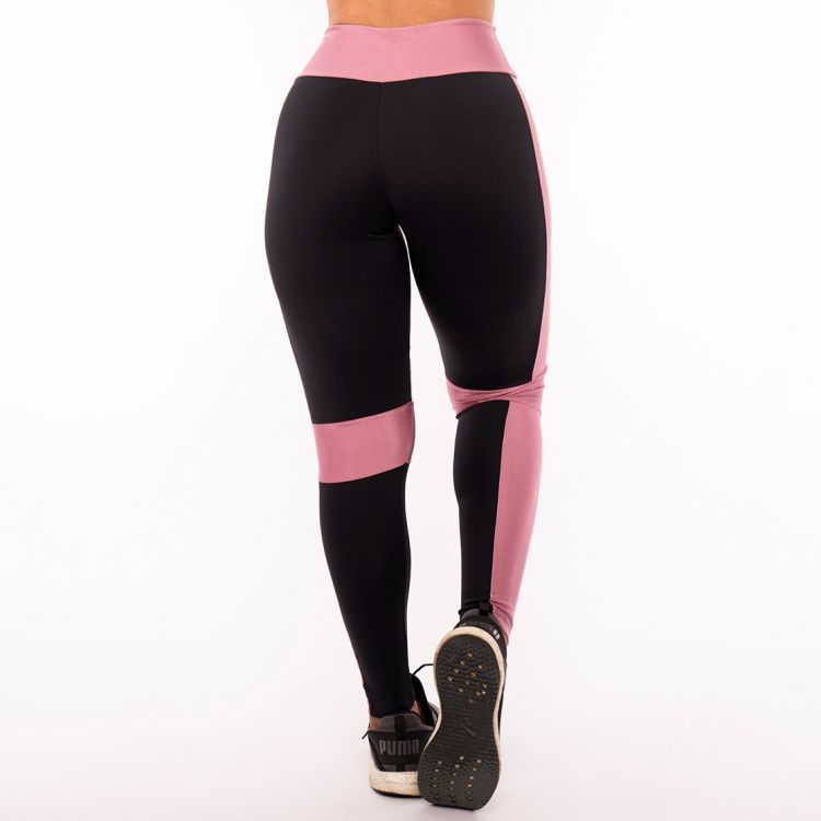 Calça Legging Poliamida Black White and Pink