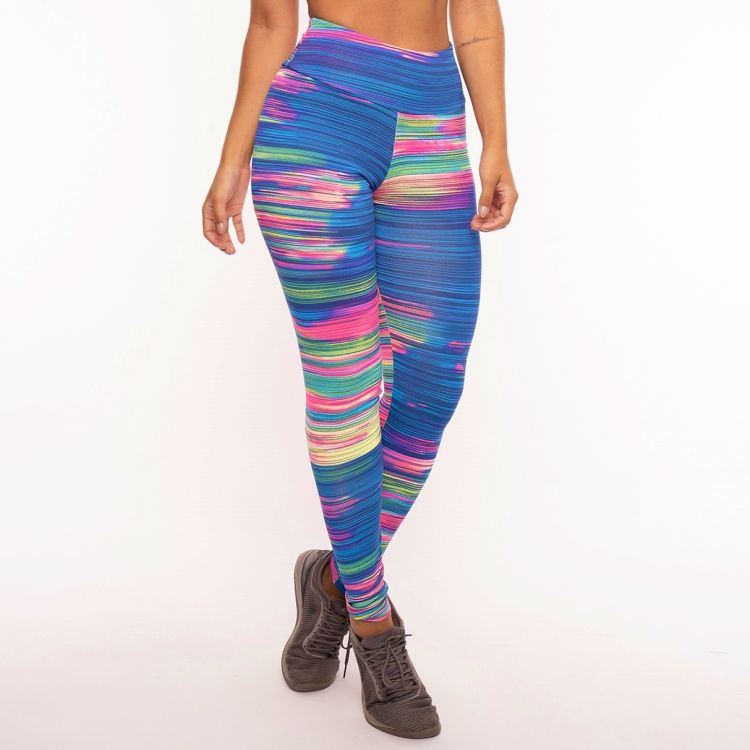 Calça Legging Poliamida Estampada Colorful