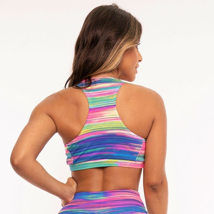Top Fitness Poliamida Estampada Colorful