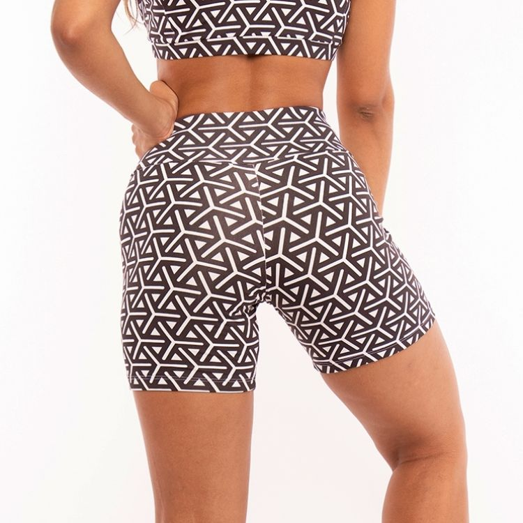 Short Fitness Poliamida Estampada black and white