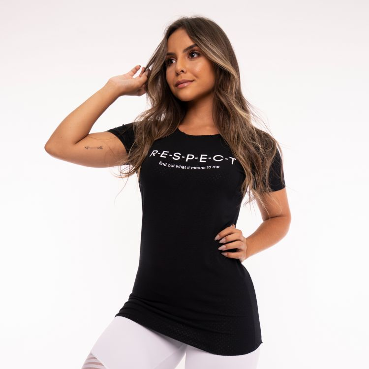Camisa Fitness Preta Visco Dry Respect