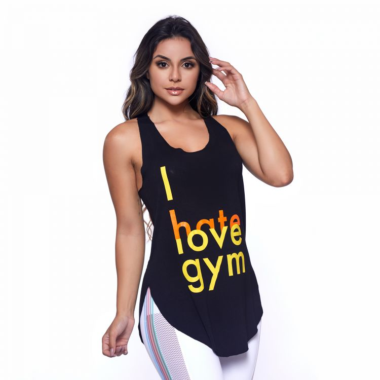 Camiseta Fitness Preta I Hate Love Gym