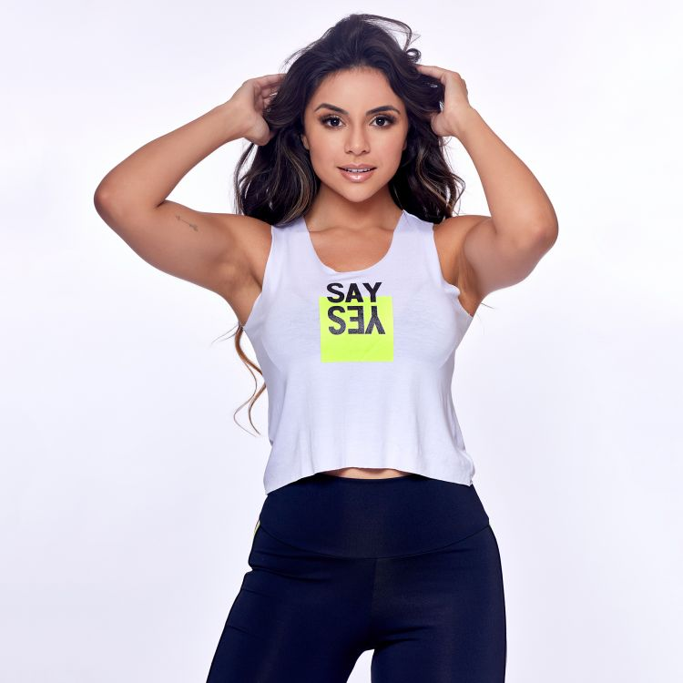 Cropped Fitness Branco Say Yes