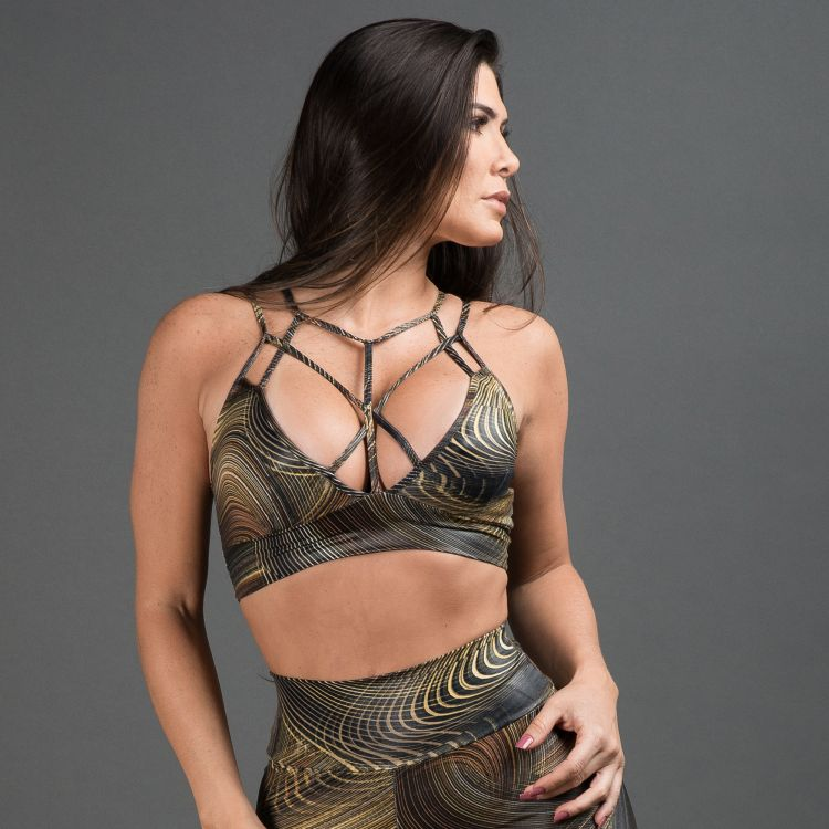 Top Fitness Cirrê Strappy Estampado Golden