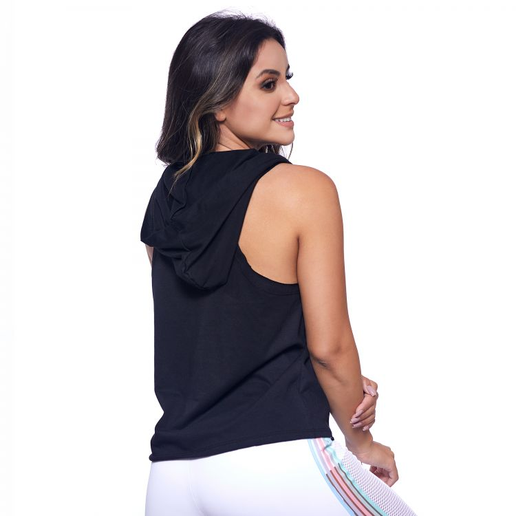 Cropped Fitness Preto com Capuz Get Fit